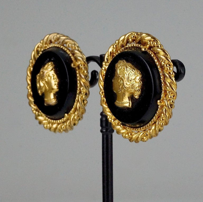 Vintage YVES SAINT LAURENT Ysl Lady Profile Cameo Earrings For Sale 2