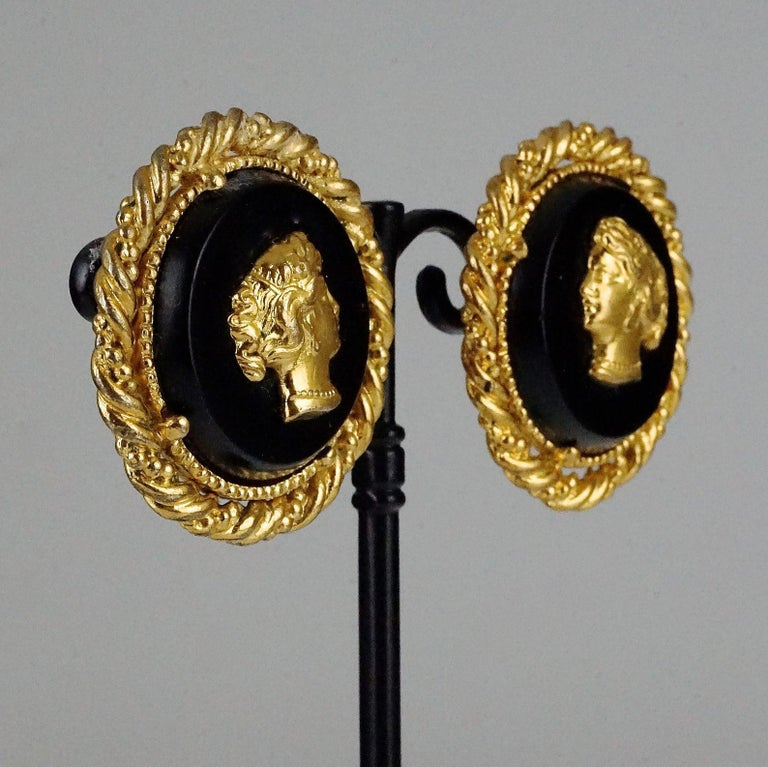 Vintage YVES SAINT LAURENT Ysl Lady Profile Cameo Earrings For Sale 3