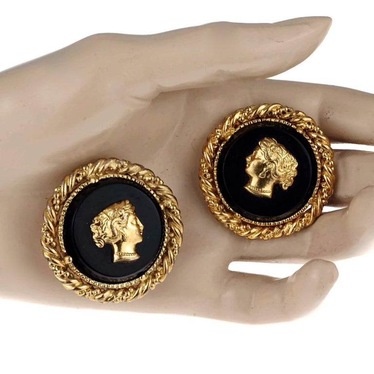 Vintage YVES SAINT LAURENT Ysl Lady Profile Cameo Earrings For Sale 4