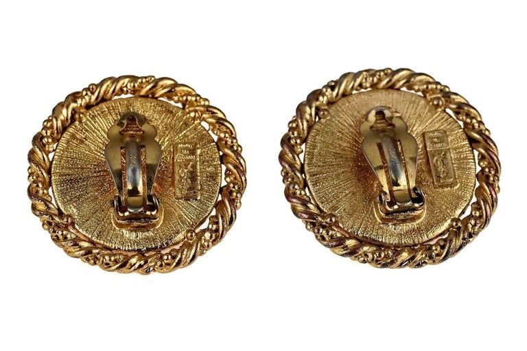 Vintage YVES SAINT LAURENT Ysl Lady Profile Cameo Earrings For Sale 5