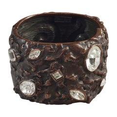 Vintage YVES SAINT LAURENT Ysl Lava Textured Rhinestone Bronze Cuff Bracelet