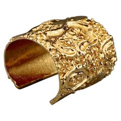 Vintage YVES SAINT LAURENT Ysl Lava Textured Wide Cuff Bracelet