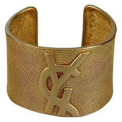 Vintage YVES SAINT LAURENT Ysl Logo Asymmetric Cuff Bracelet