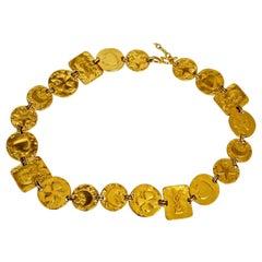 Vintage YVES SAINT LAURENT YSL Logo Charm Link Necklace Belt