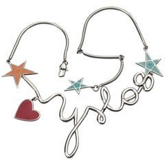 Vintage YVES SAINT LAURENT Ysl Logo Cursive Pop Heart Star Necklace