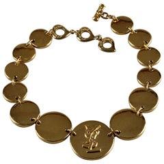 Vintage YVES SAINT LAURENT Ysl Logo Disc Medallion Link Necklace