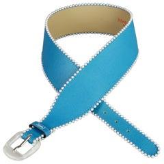 Vintage YVES SAINT LAURENT Ysl Logo Pearl Blue Belt