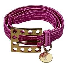 Vintage YVES SAINT LAURENT Ysl Logo Pink Passementerie Belt