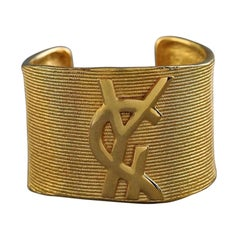 Vintage YVES SAINT LAURENT Ysl Logo Ribbed Gold Cuff Bracelet