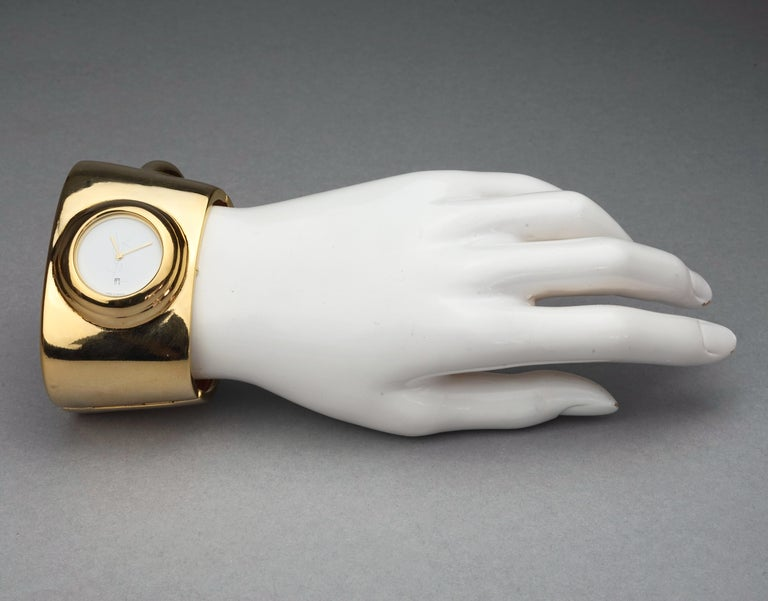 Vintage YVES SAINT LAURENT Ysl Logo Space Age Watch Clamper Cuff Bracelet  For Sale 6