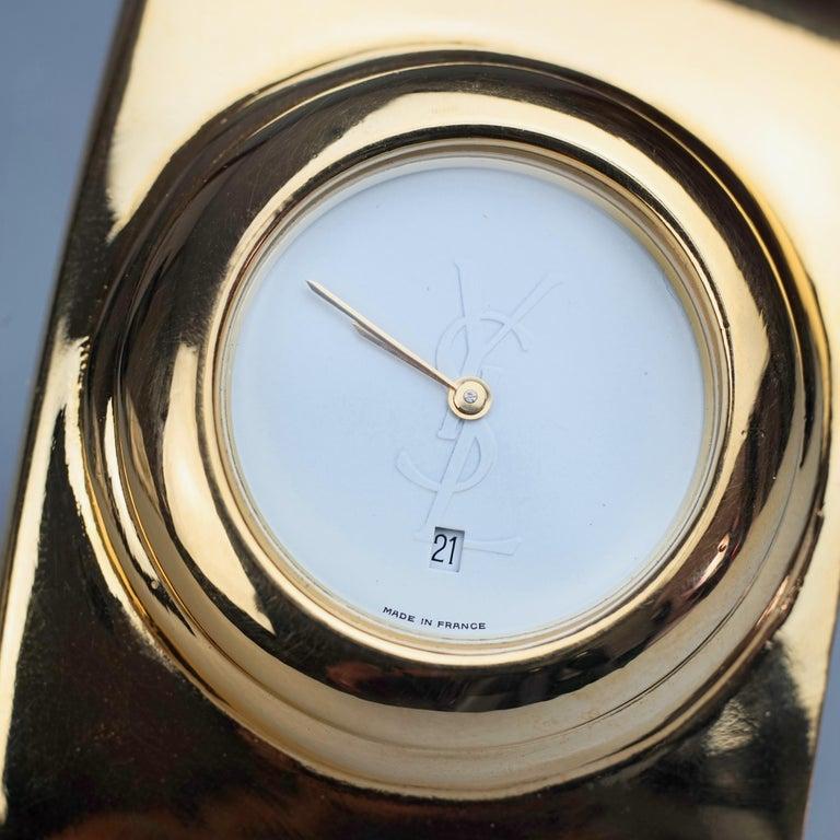 Vintage YVES SAINT LAURENT Ysl Logo Space Age Watch Clamper Cuff Bracelet  For Sale 8