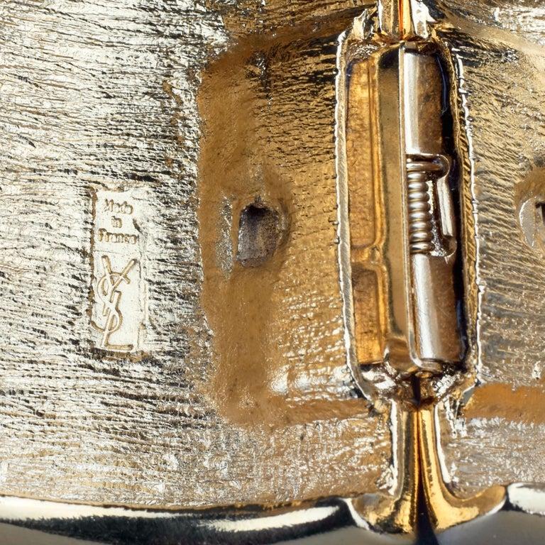 Vintage YVES SAINT LAURENT Ysl Logo Space Age Watch Clamper Cuff Bracelet  For Sale 9