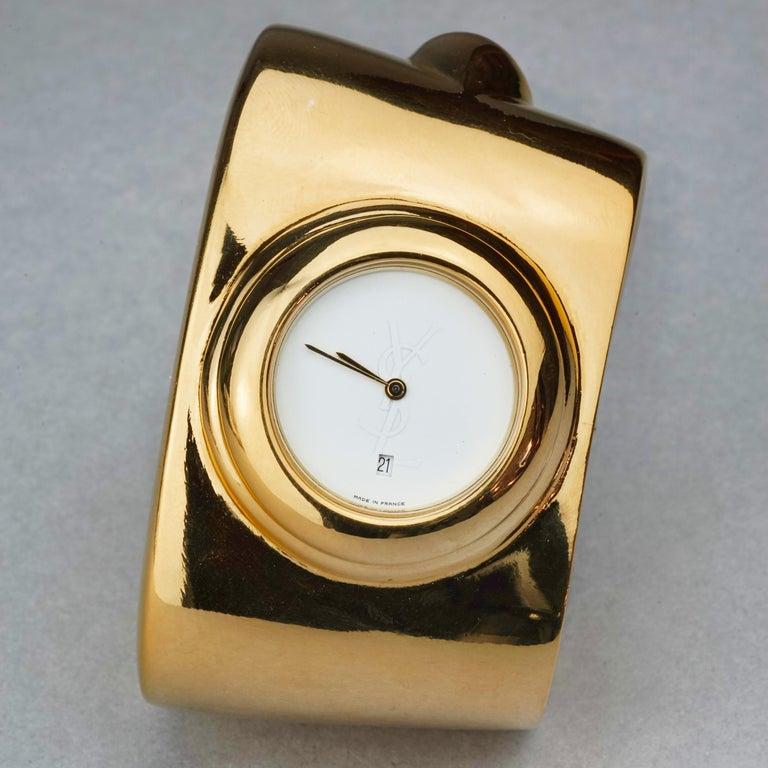 Vintage YVES SAINT LAURENT Ysl Logo Space Age Watch Clamper Cuff Bracelet  For Sale 1