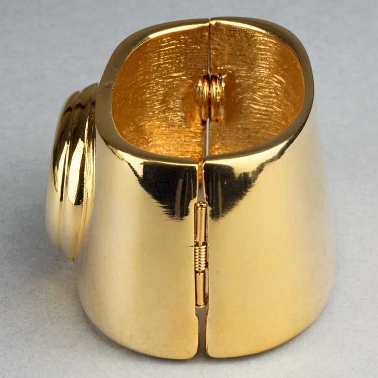Vintage YVES SAINT LAURENT Ysl Logo Space Age Watch Clamper Cuff Bracelet  For Sale 2