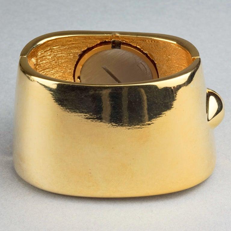 Vintage YVES SAINT LAURENT Ysl Logo Space Age Watch Clamper Cuff Bracelet  For Sale 3