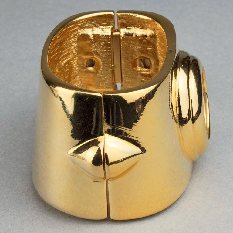 Vintage YVES SAINT LAURENT Ysl Logo Space Age Watch Clamper Cuff Bracelet  For Sale 5