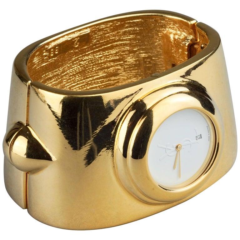 Vintage YVES SAINT LAURENT Ysl Logo Space Age Watch Clamper Cuff Bracelet  For Sale