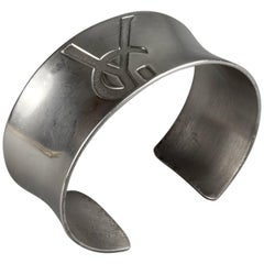Vintage YVES SAINT LAURENT Ysl Logo Sterling Silver Cuff Bracelet