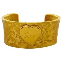 Vintage YVES SAINT LAURENT Ysl Love Heart Hammered Cuff Bracelet