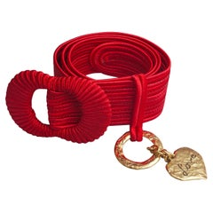 Vintage YVES SAINT LAURENT Ysl Love Red Passementarie Woven Belt
