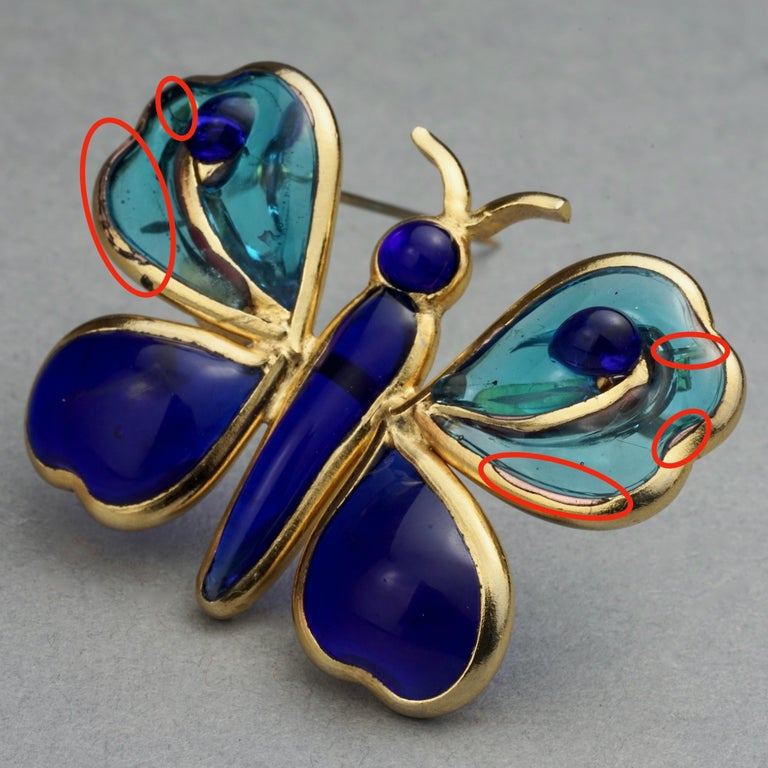 Vintage YVES SAINT LAURENT Ysl Maison Gripoix Butterfly Brooch For Sale 7