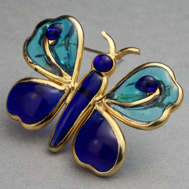 Vintage YVES SAINT LAURENT Ysl Maison Gripoix Butterfly Brooch In Good Condition For Sale In Kingersheim, Alsace