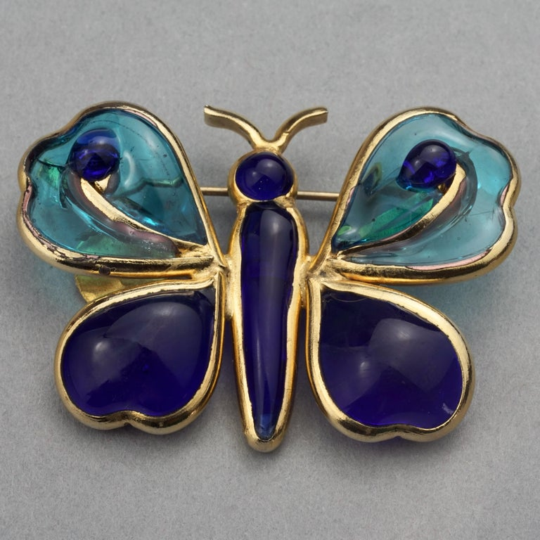 Women's or Men's Vintage YVES SAINT LAURENT Ysl Maison Gripoix Butterfly Brooch For Sale