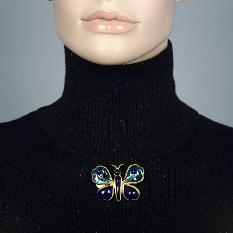 Vintage YVES SAINT LAURENT Ysl Maison Gripoix Butterfly Brooch For Sale 3