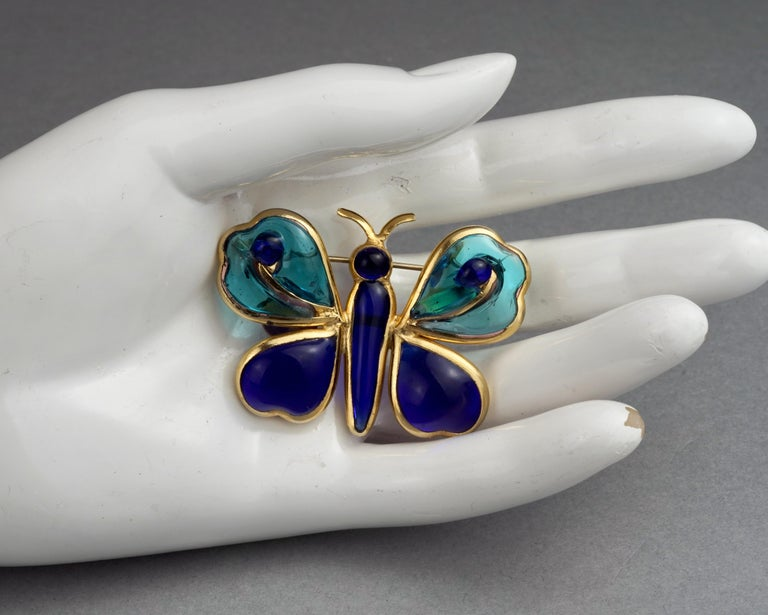 Vintage YVES SAINT LAURENT Ysl Maison Gripoix Butterfly Brooch For Sale 4