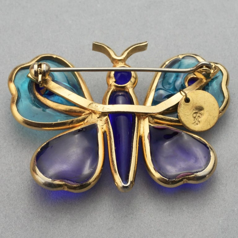 Vintage YVES SAINT LAURENT Ysl Maison Gripoix Butterfly Brooch For Sale 5