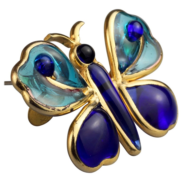 Vintage YVES SAINT LAURENT Ysl Maison Gripoix Butterfly Brooch For Sale