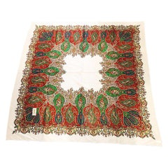 Vintage Yves Saint Laurent YSL Massive Hand Painted Paisley Cotton Shawl Scarf