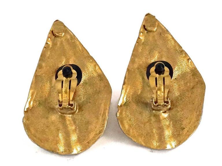 Vintage YVES SAINT LAURENT Ysl Massive Wrinkled Leaf Earrings For Sale 4