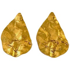 Vintage YVES SAINT LAURENT Ysl Massive Wrinkled Leaf Earrings
