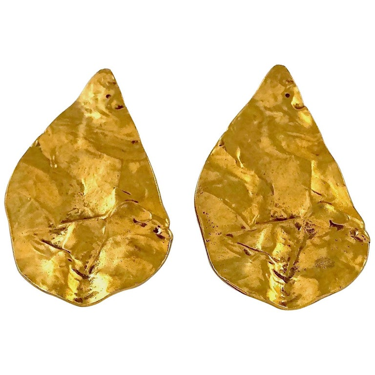 Vintage YVES SAINT LAURENT Ysl Massive Wrinkled Leaf Earrings For Sale