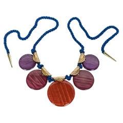 Vintage Yves Saint Laurent Ysl Multi-Color Disc Silk Cord Necklace