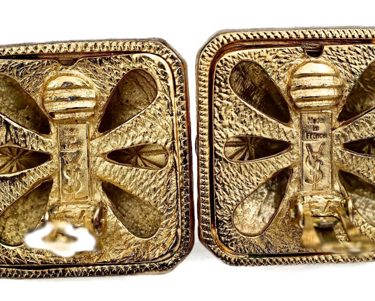 Vintage YVES SAINT LAURENT Ysl Multi Coloured Cabochon Flower Earrings For Sale 6