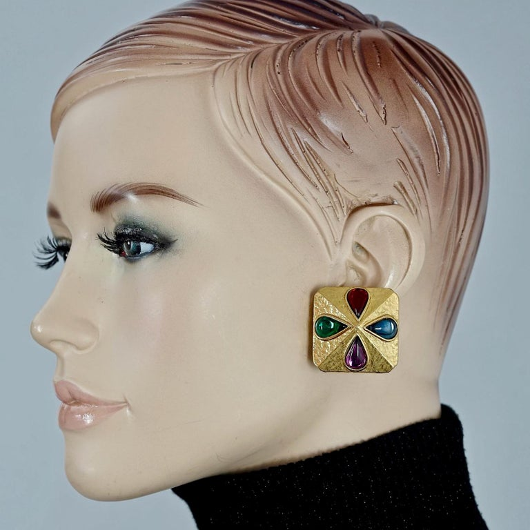 Vintage YVES SAINT LAURENT Ysl Multi Coloured Cabochon Flower Earrings  Measurements: Height: 1.30 inches (3.3 cm) Width: 1.30 inches (3.3 cm) Weight per Earring: 25 grams  Features: - 100% Authentic YVES SAINT LAURENT. - Square earrings with multi