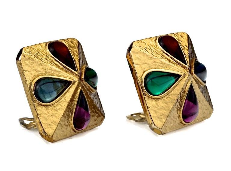 Women's Vintage YVES SAINT LAURENT Ysl Multi Coloured Cabochon Flower Earrings For Sale