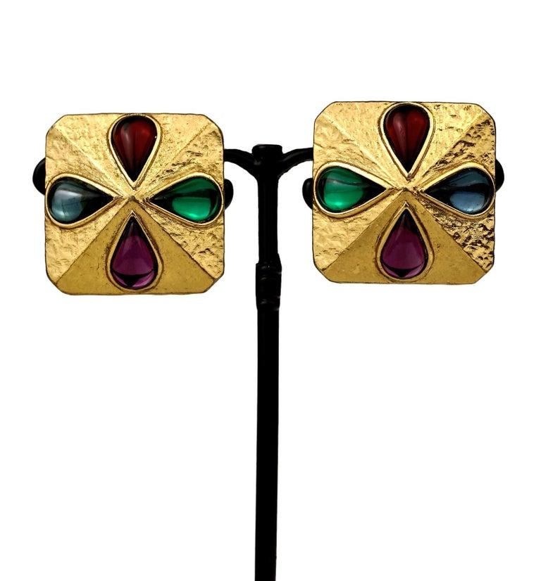 Vintage YVES SAINT LAURENT Ysl Multi Coloured Cabochon Flower Earrings For Sale 1