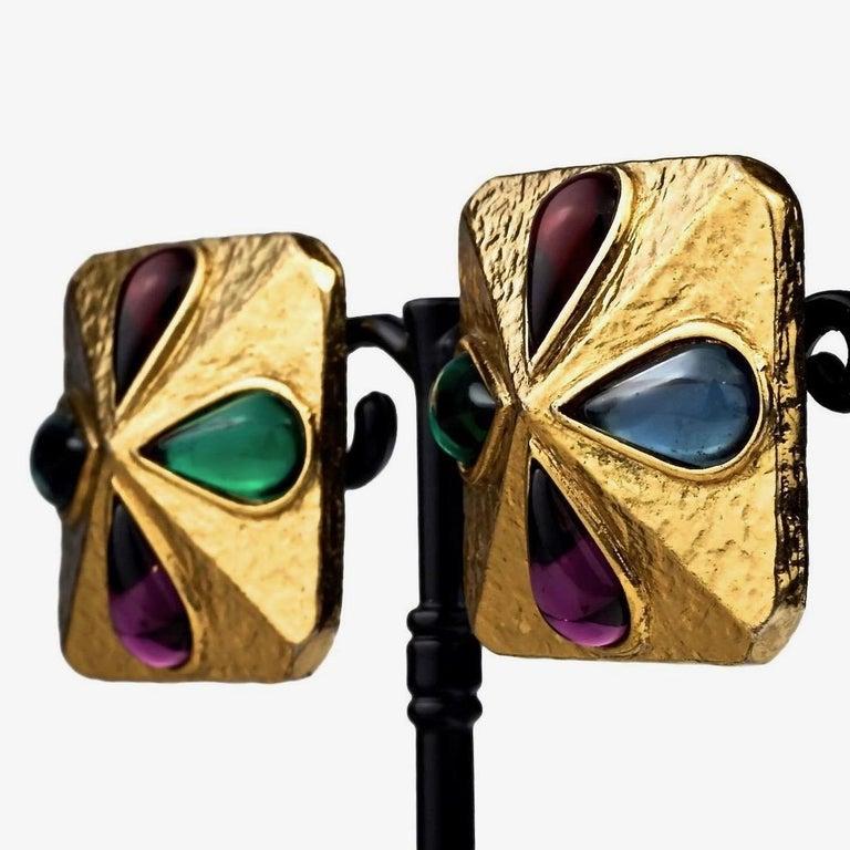 Vintage YVES SAINT LAURENT Ysl Multi Coloured Cabochon Flower Earrings For Sale 2