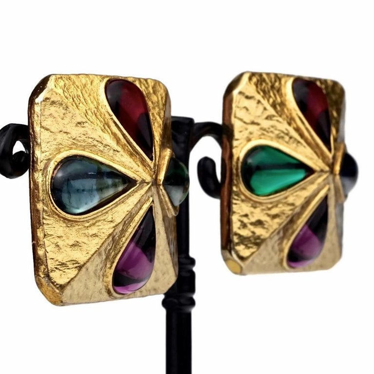 Vintage YVES SAINT LAURENT Ysl Multi Coloured Cabochon Flower Earrings For Sale 3