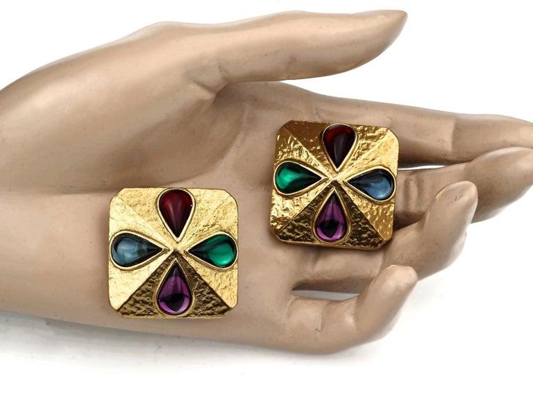 Vintage YVES SAINT LAURENT Ysl Multi Coloured Cabochon Flower Earrings For Sale 4