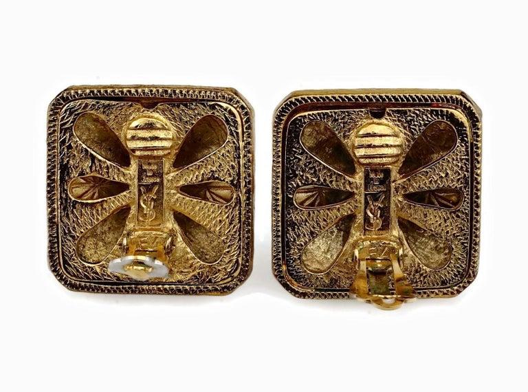 Vintage YVES SAINT LAURENT Ysl Multi Coloured Cabochon Flower Earrings For Sale 5
