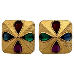 Vintage YVES SAINT LAURENT Ysl Multi Coloured Cabochon Flower Earrings