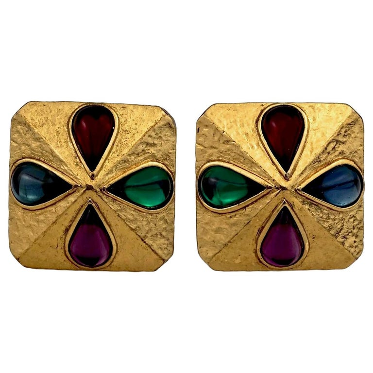 Vintage YVES SAINT LAURENT Ysl Multi Coloured Cabochon Flower Earrings For Sale