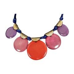 Vintage YVES SAINT LAURENT Ysl Multicolour Disc Silk Cord Necklace