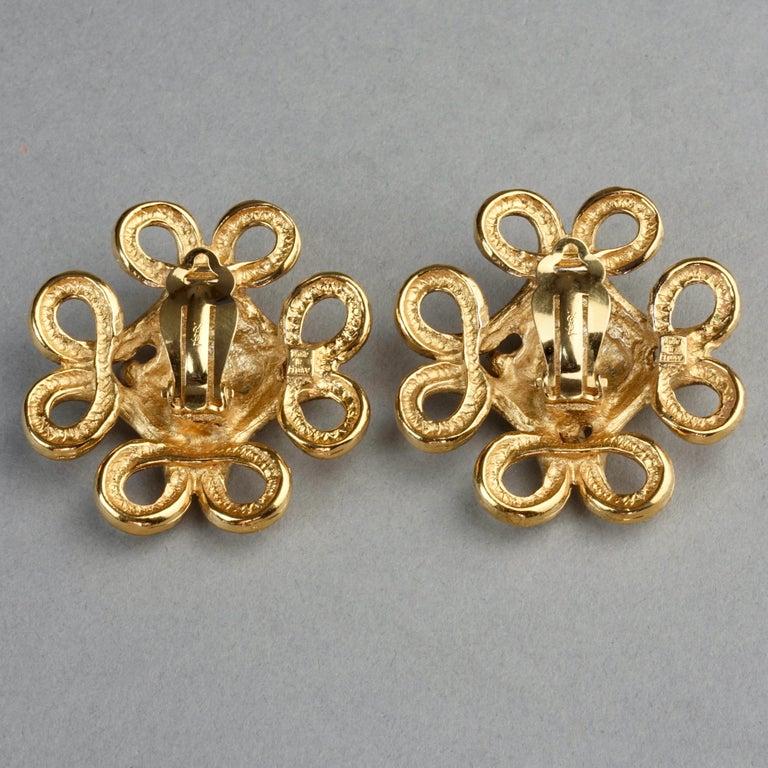 Vintage YVES SAINT LAURENT Ysl Nugget Loop Earrings For Sale 6