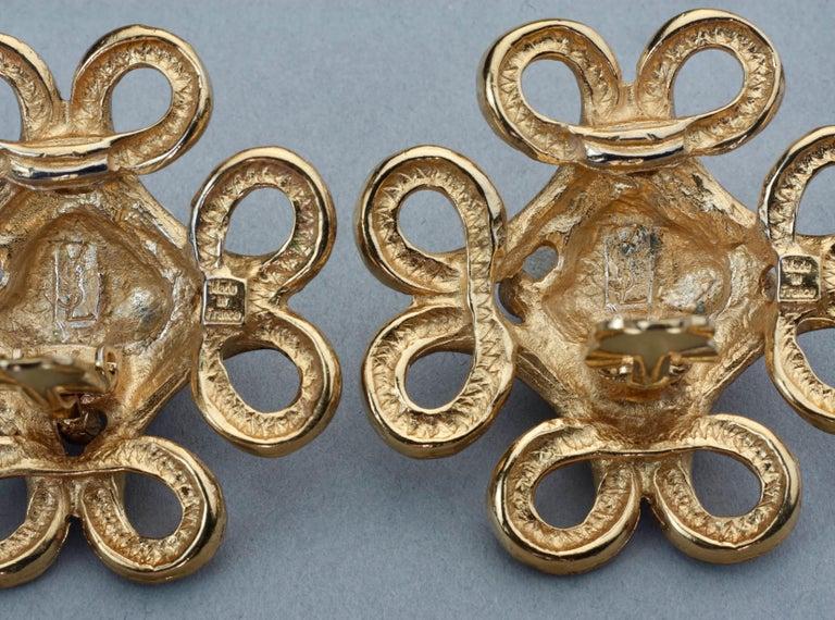 Vintage YVES SAINT LAURENT Ysl Nugget Loop Earrings For Sale 7