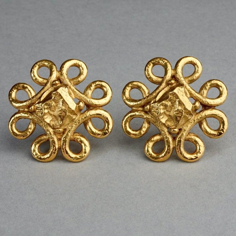 Vintage YVES SAINT LAURENT Ysl Nugget Loop Earrings For Sale 2